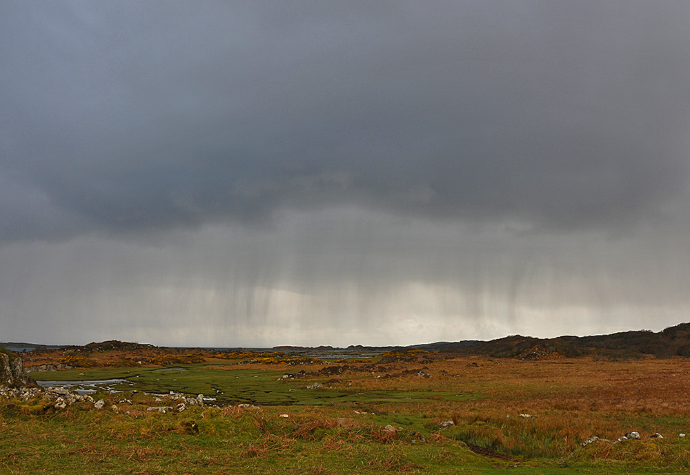 Picture of an approaching rain shower over a coastal landscape