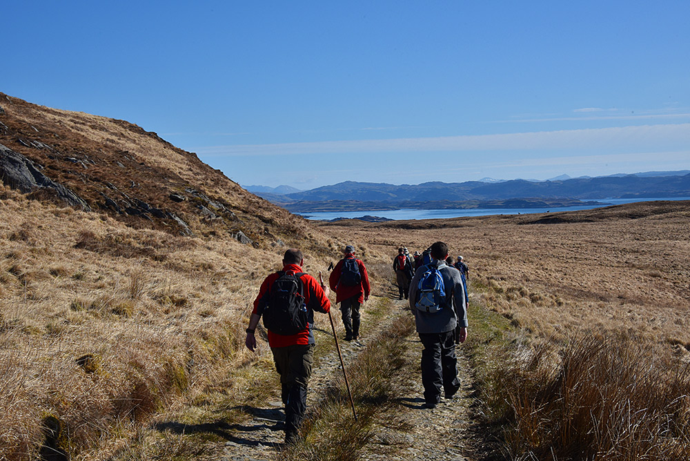 Picture of a group of walkers on a track in a remote landscape