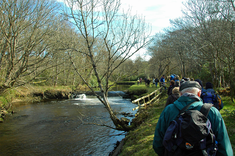 Picture of a group of walkers walking along a small river