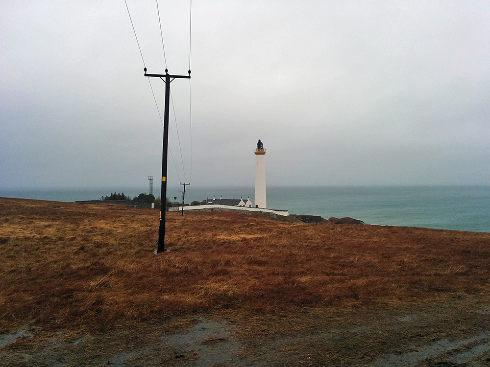 Picture of a remote lighthouse on a rainy day