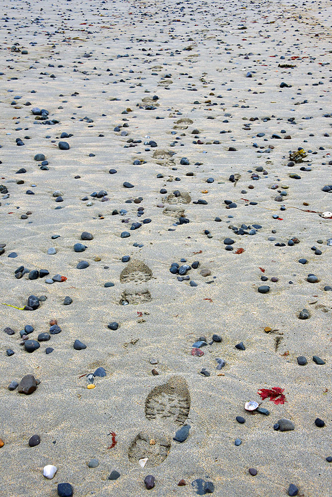 Picture of footprints on a sandy beach with a lot of small stones