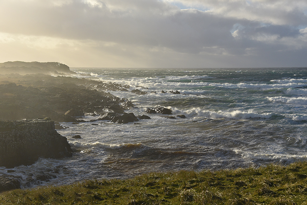 Picture of rocky coast on a stormy day, waves breaking as they roll into a bay