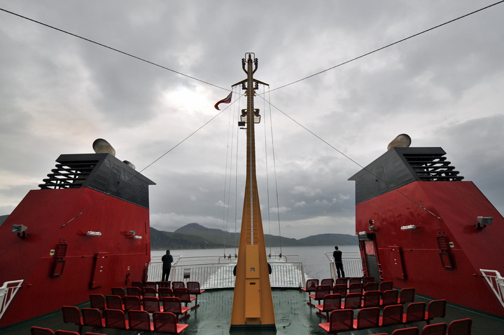 Picture of a view from the upper deck of a large ferry