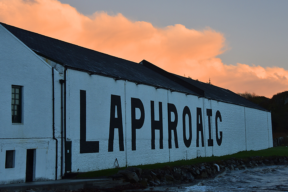 Picture of colourful clouds over Laphroaig distillery