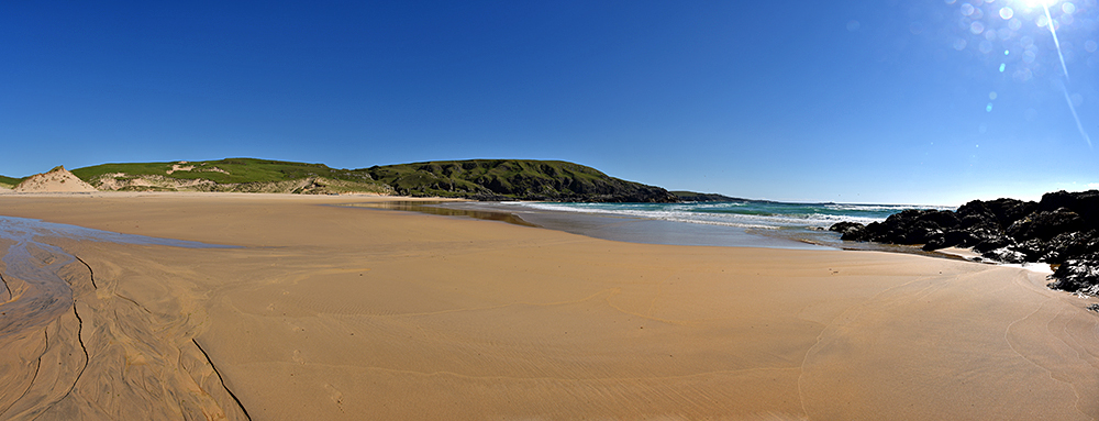 Panoramic picture of a golden sandy beach backed by dunes and cliffs