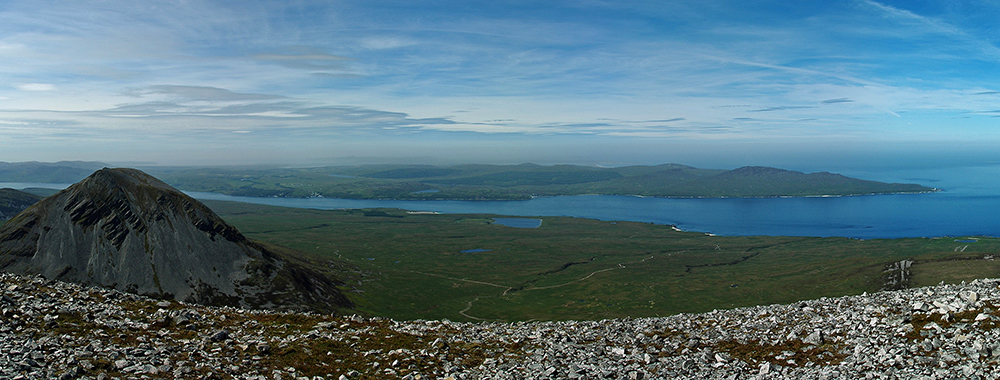 Panoramic picture of a view from a mountain across a sound to an island