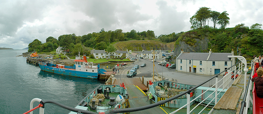 Panoramic picture of a view over a small ferry port on an island