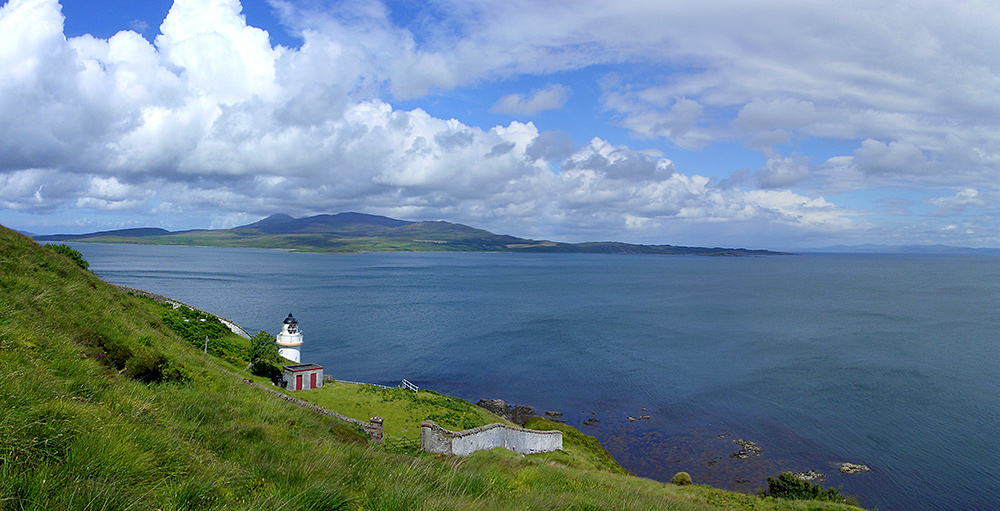 Panoramic picture of the southern entrance to the Sound of Islay, seen from just above a lighthouse