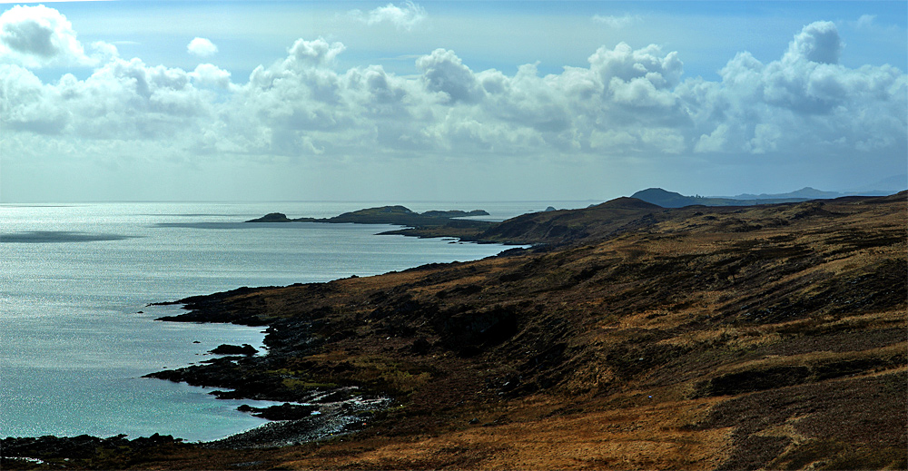 Panoramic picture of a view along a jagged island coast