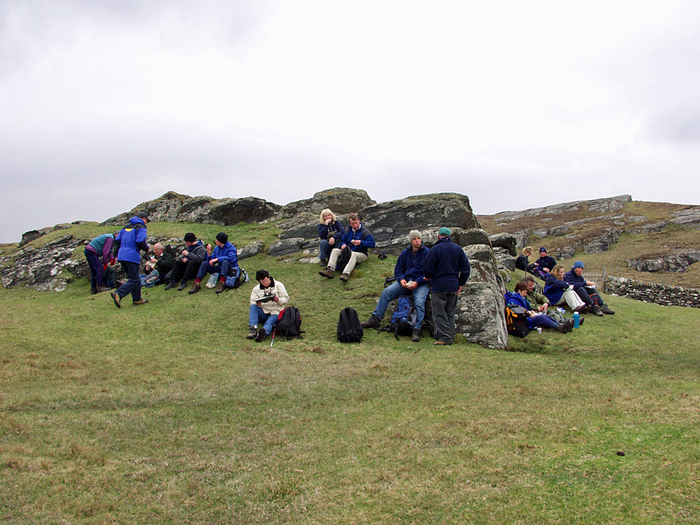 Picture of a group of walkers during a break for lunch