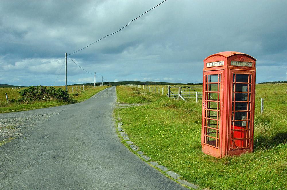 Remote red telephone box, Isle of Islay