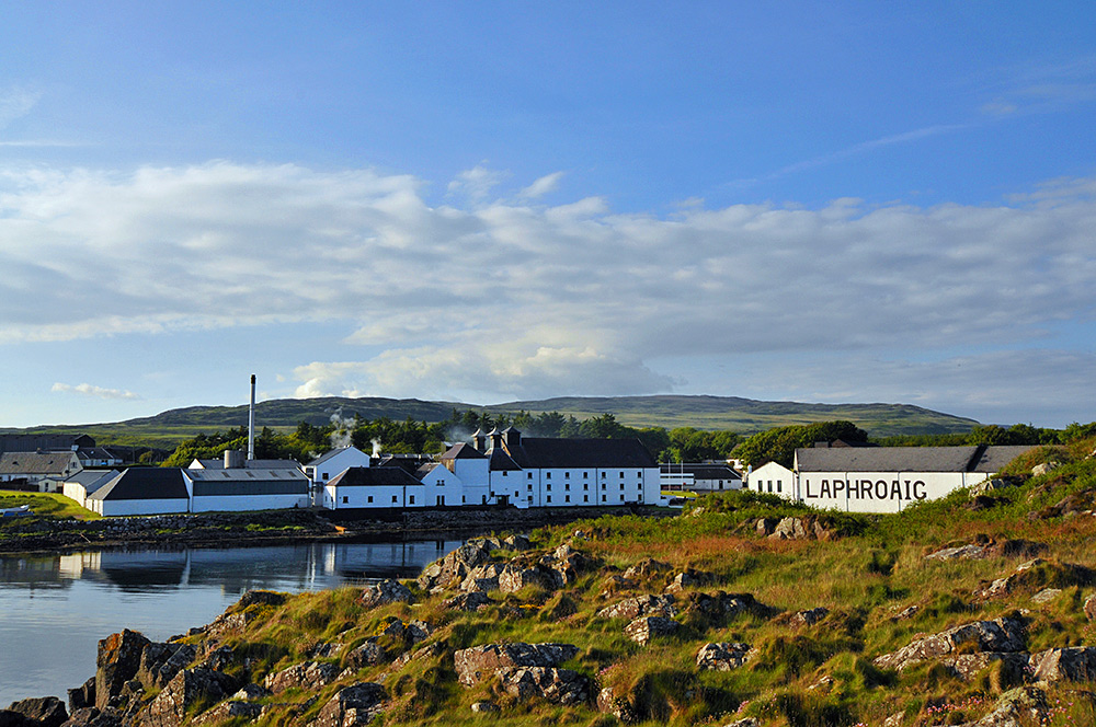 Laphroaig distillery on a June evening, Isle of Islay
