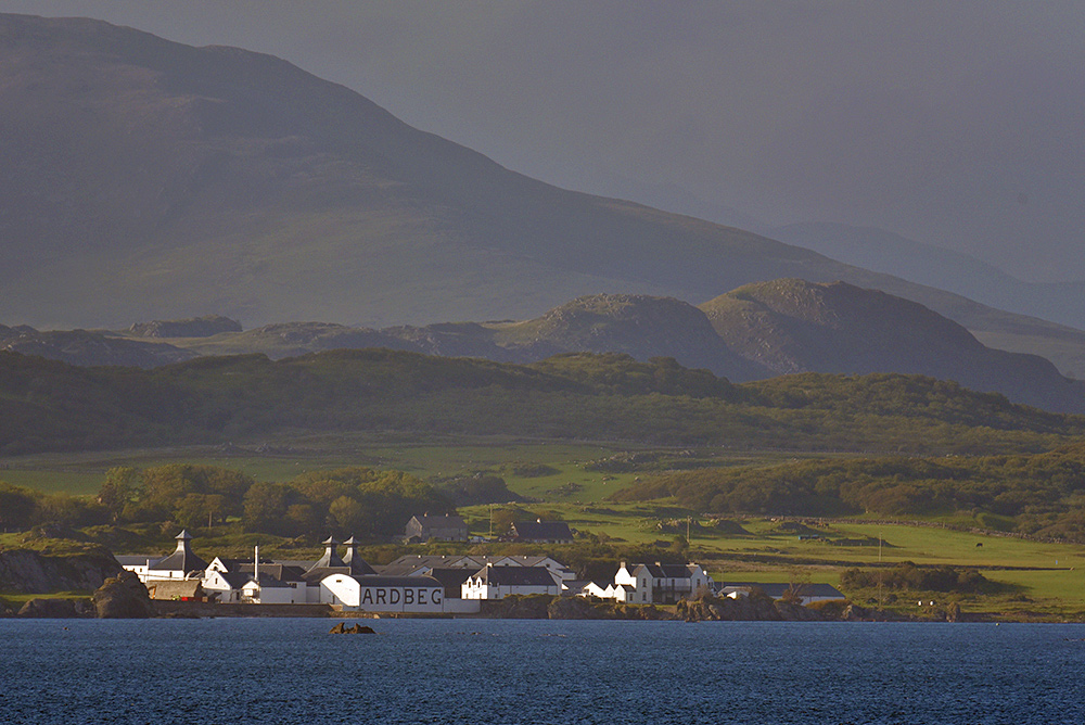 Ardbeg distillery below the South Eastern Hills, Isle of Islay