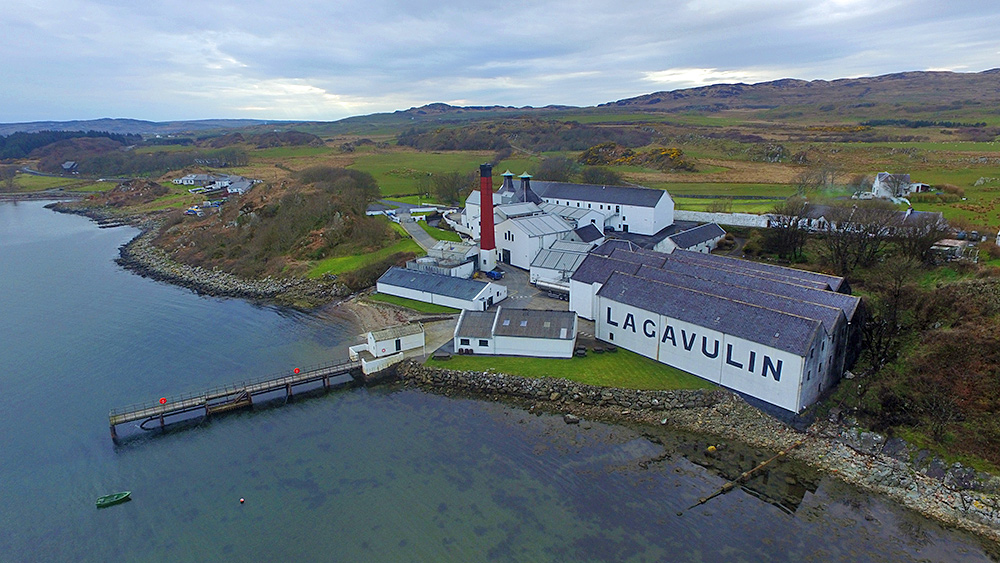 Lagavulin distillery from the air, Isle of Islay