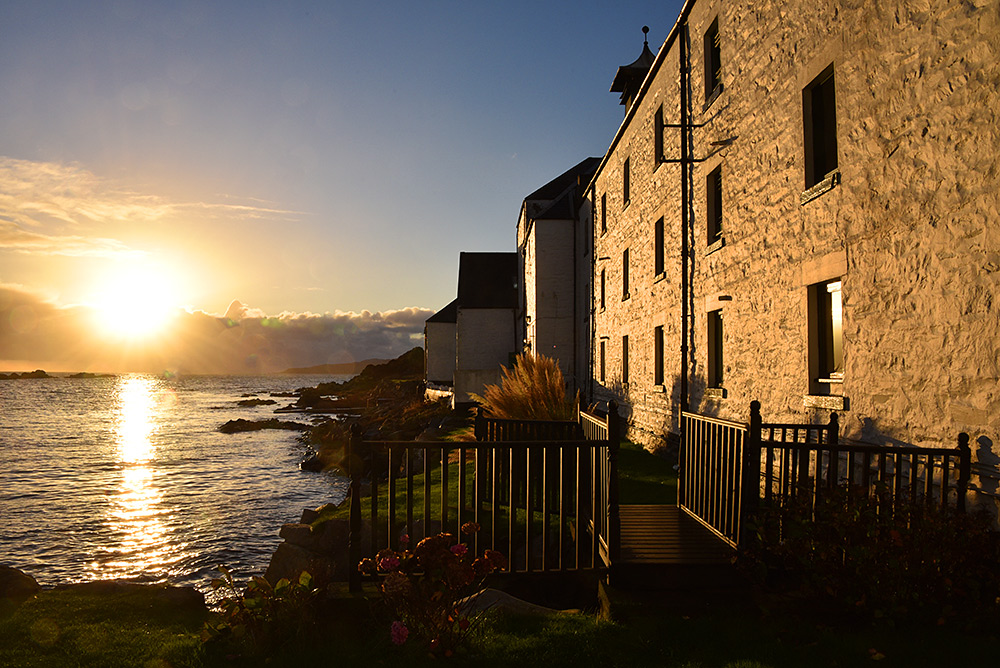 Picture of Laphroaig distillery on Islay in the November afternoon sunshine