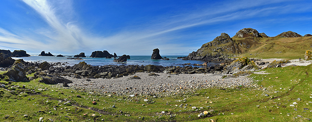 Panoramic picture of a small bay shore with various sea stacks