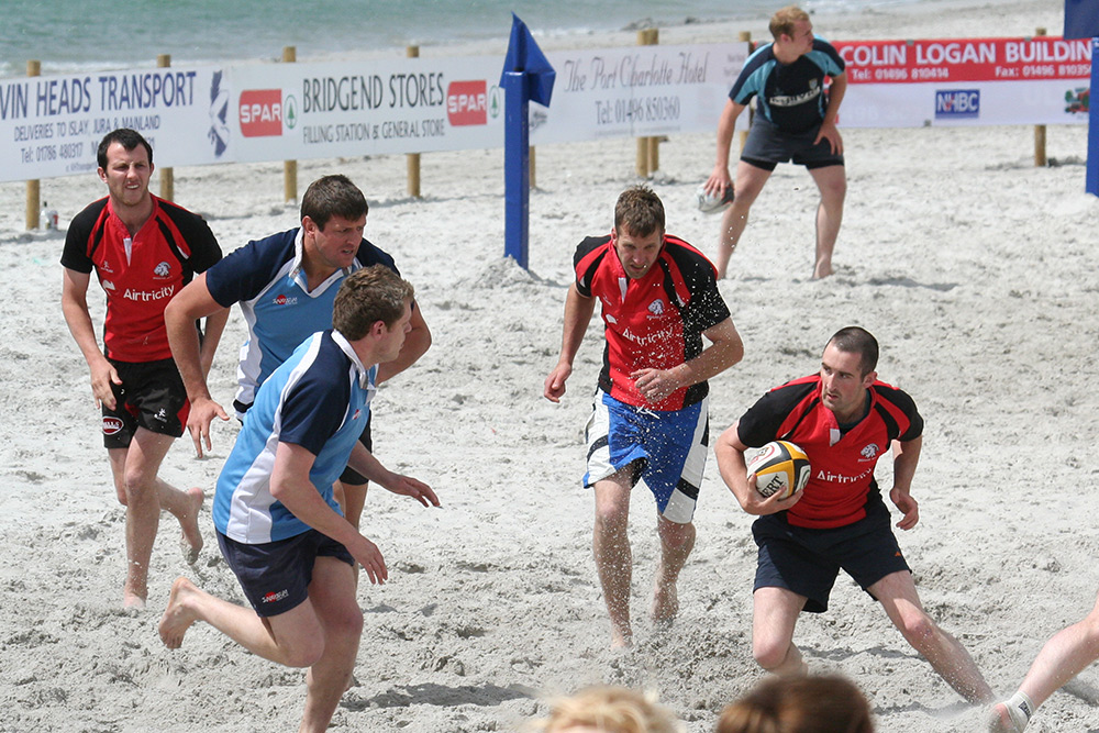 Picture of a beach rugby game on Islay
