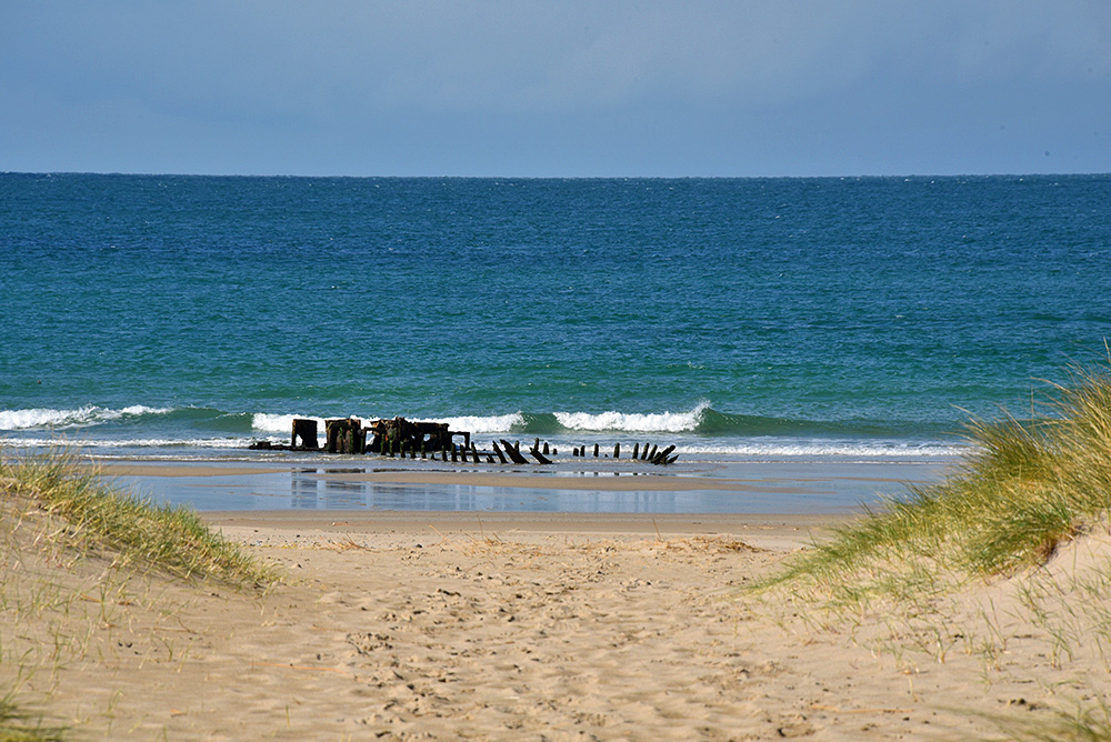 Picture of a view from a path through dunes towards a beach with a wreck