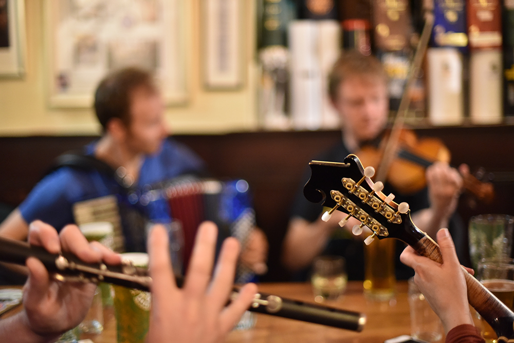 Picture of instruments being played during pub sessions