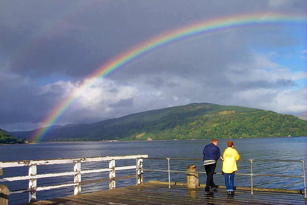 Rainbow from Inveraray pier, journey to Islay