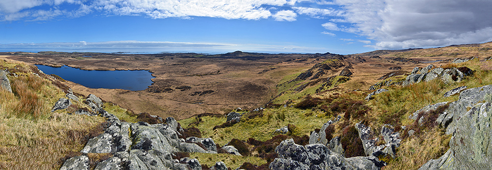 Panoramic picture of a coastal landscape seen from an ancient hillfort