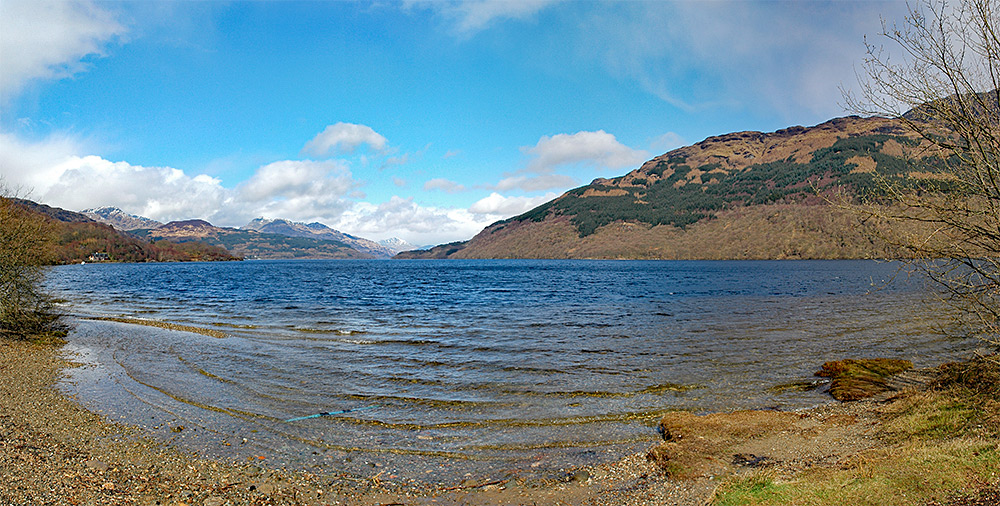 Panoramic picture of a view over Loch Lomond from the shore