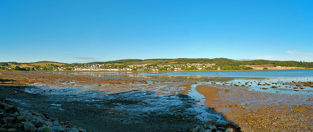 Panoramic picture of the village of Lochgilphead seen across the loch