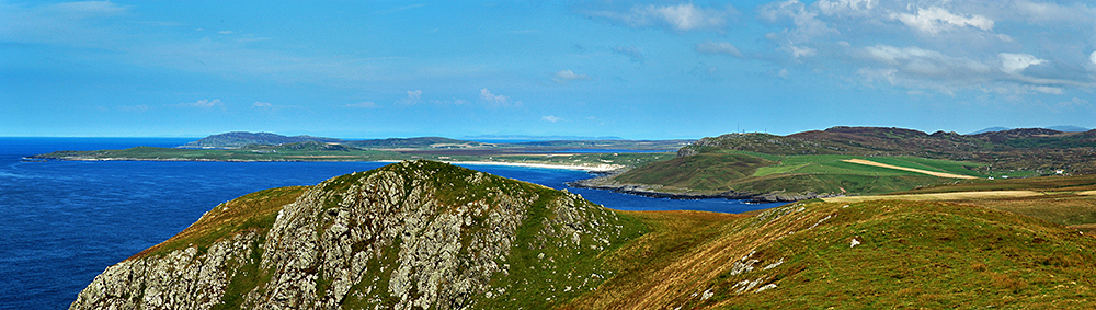 Panoramic picture of a view over two bays on a coast