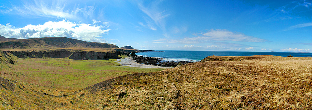 Panoramic picture of a coastline with raised beaches