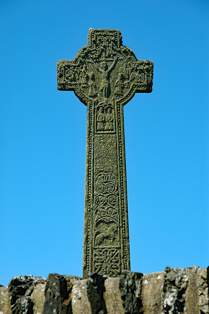 Picture of a carved Celtic cross in the sunshine