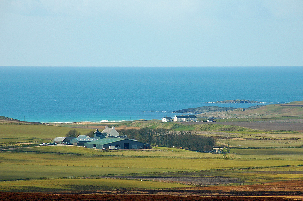 Picture of a small farm distillery and a row of cottages near a coast
