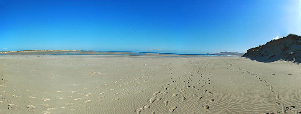 Panoramic picture of a beach at the entrance to a sea loch