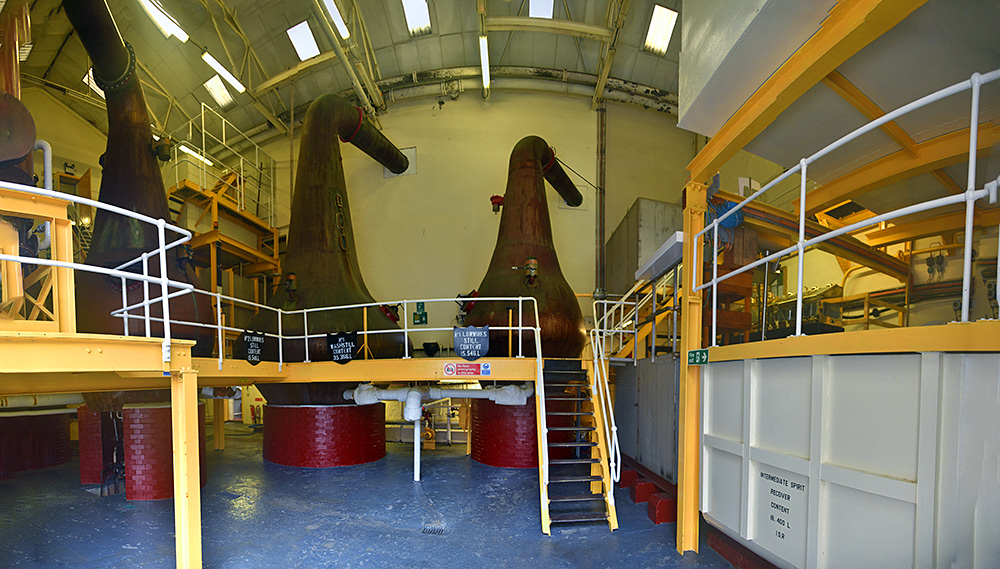 Panoramic picture of a view into the still house of Bunnahabhain distillery