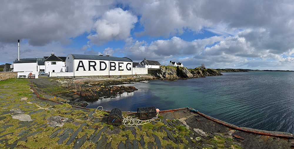 Panoramic picture of Ardbeg distillery on Islay taken from the small pier