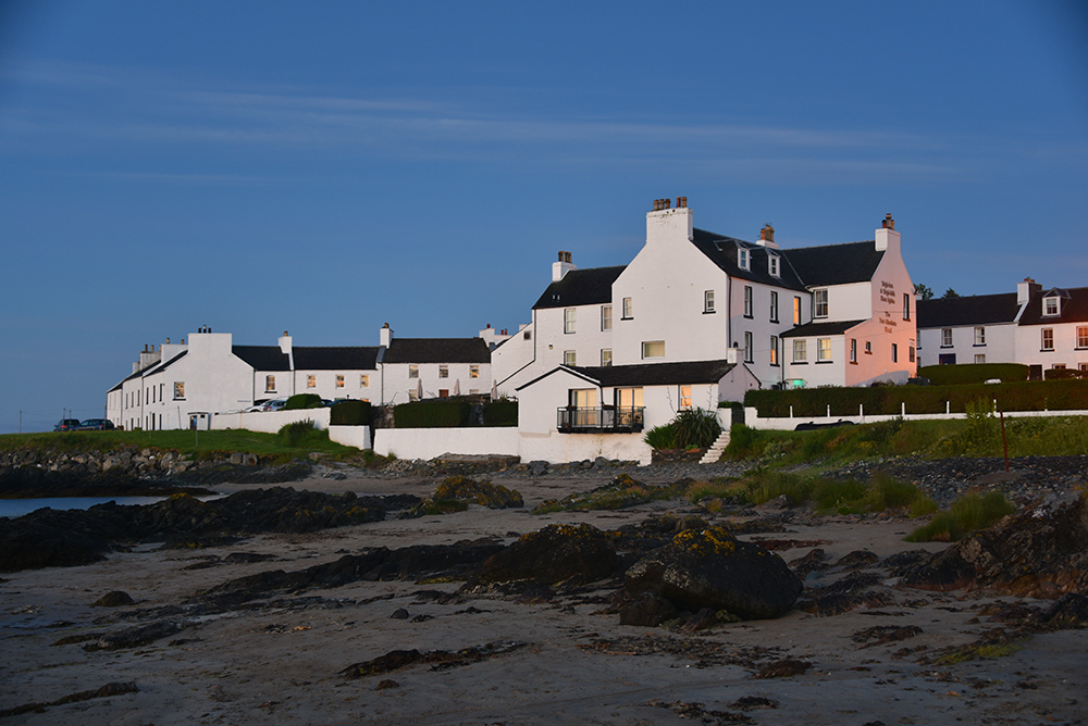 Picture of the Port Charlotte Hotel on Islay at dawn