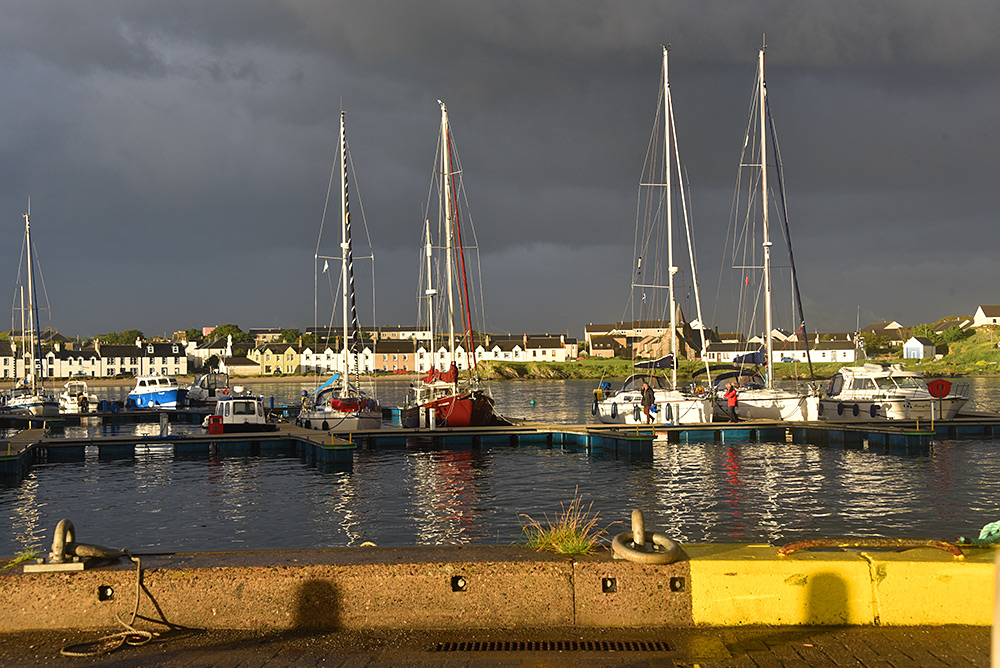Picture of a small marina in the evening sun under dark clouds