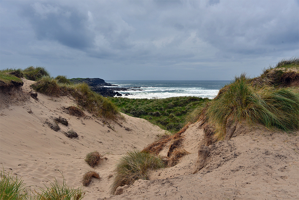 Picture of a view through dunes out to a bay with waves breaking over rocks