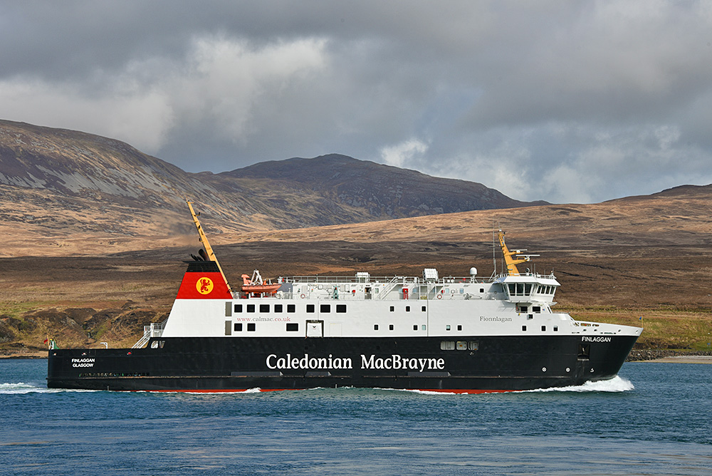 Picture of the Calmac ferry MV Finlaggan cruising along a sound