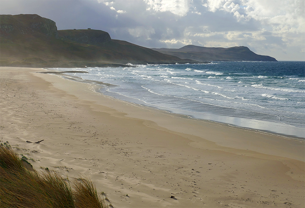 Picture of a golden sandy beach with waves rolling on to it, seen from dunes behind the beach. Spray from the waves is blown past by the wind