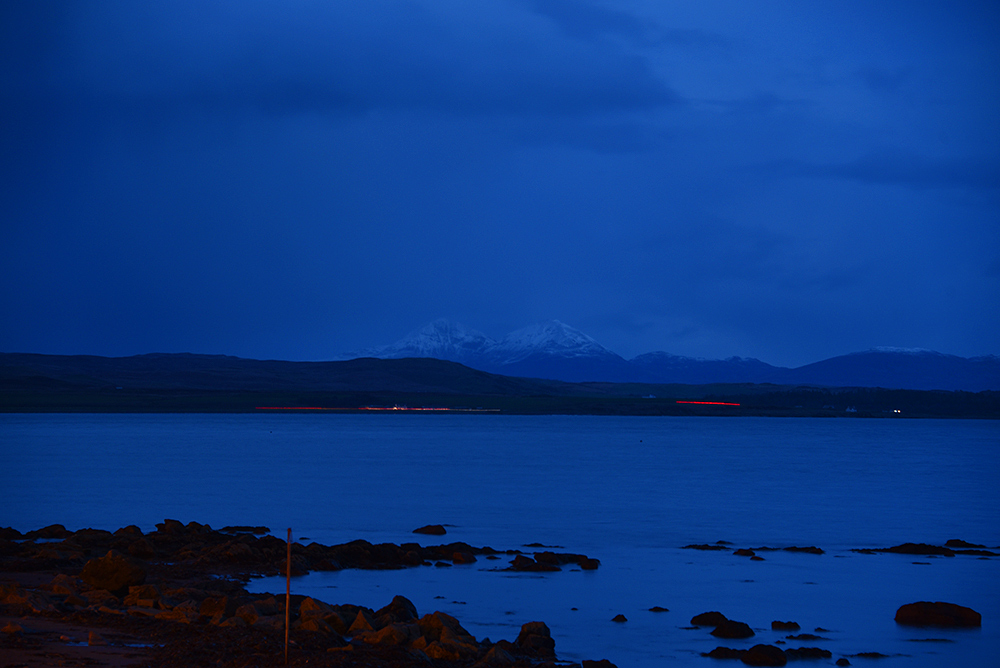 Picture of a view out over a sea loch at dusk in November