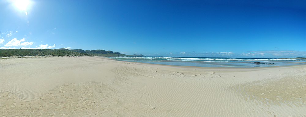 Panoramic picture of a wide sunny beach on a bright sunny day