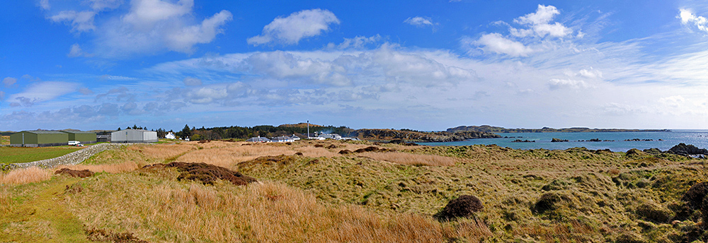Panoramic picture of Laphroaig at the south coast of Islay