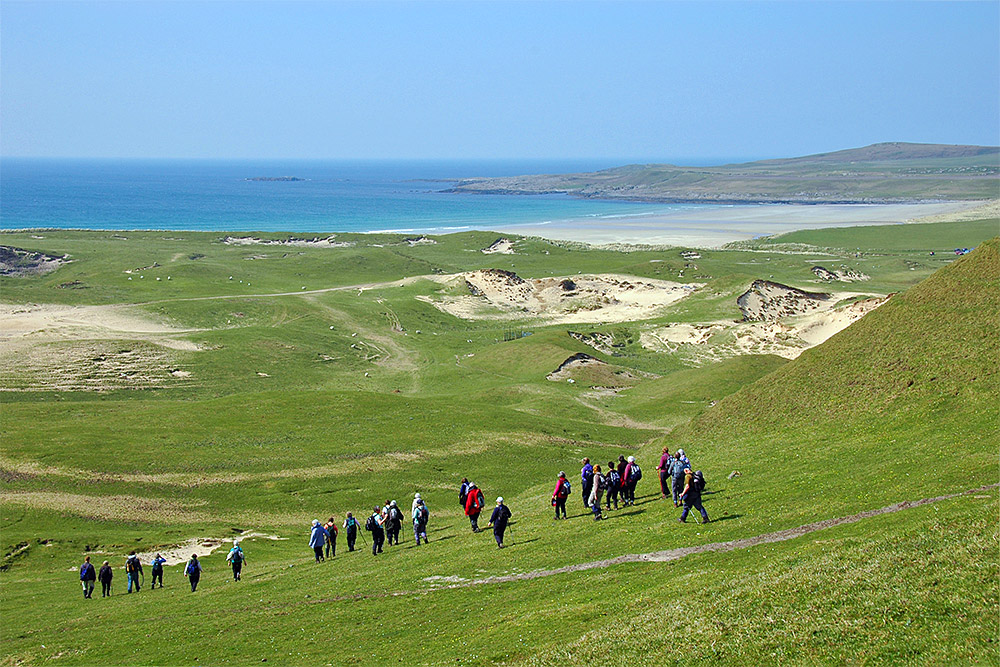 Picture of a group of walkers descending some high grassy dunes