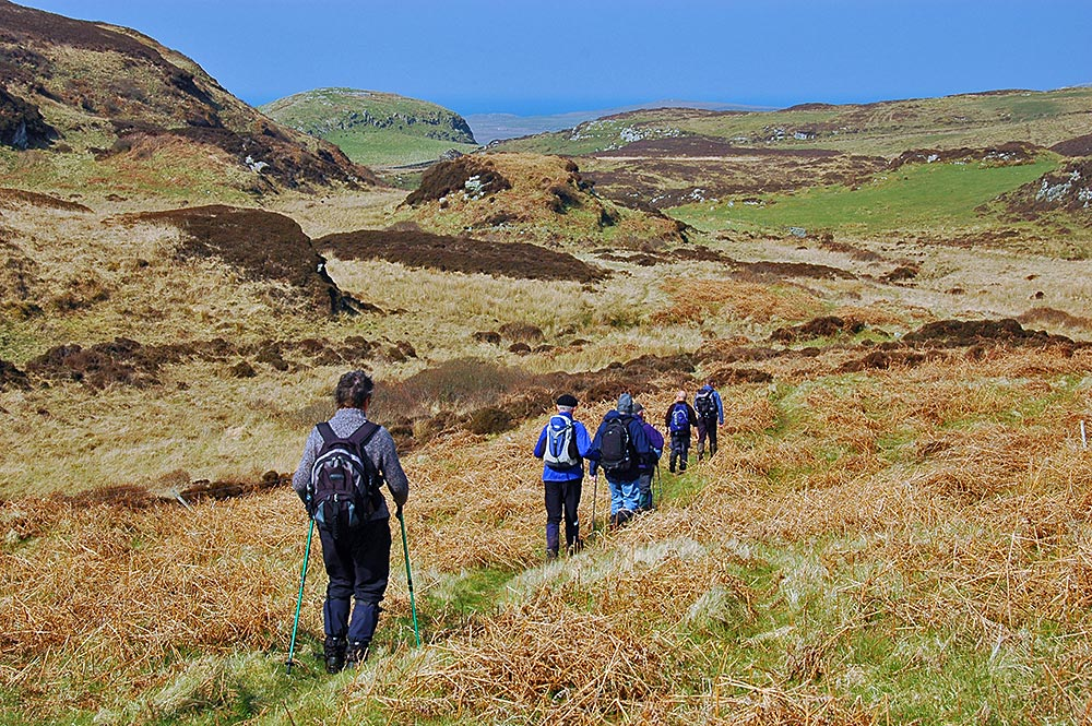 Picture of a group of walkers in some low hills