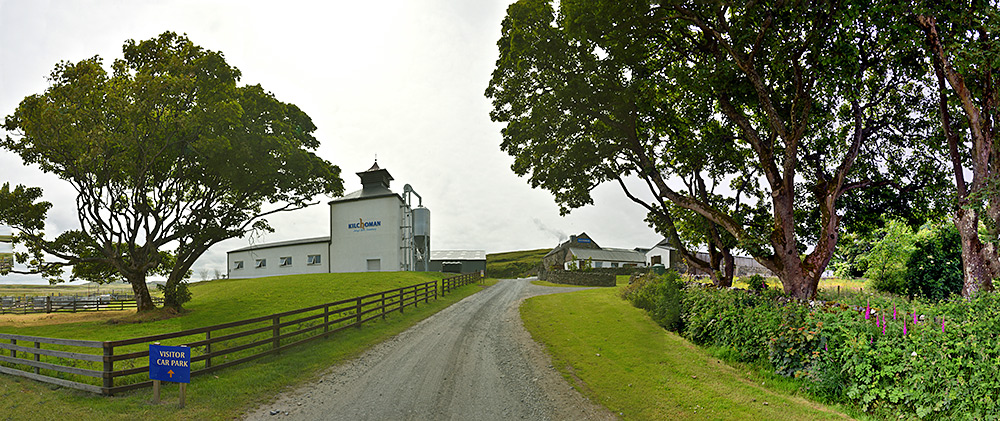 Panoramic picture of the entrance to Kilchoman farm distillery on Islay