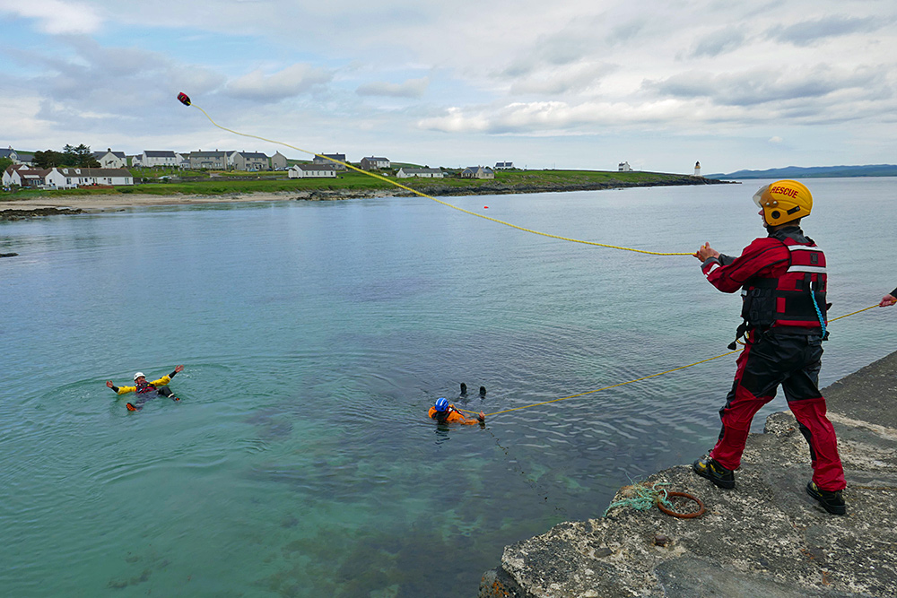 Picture of Coastguard member practising their water rescue  skills
