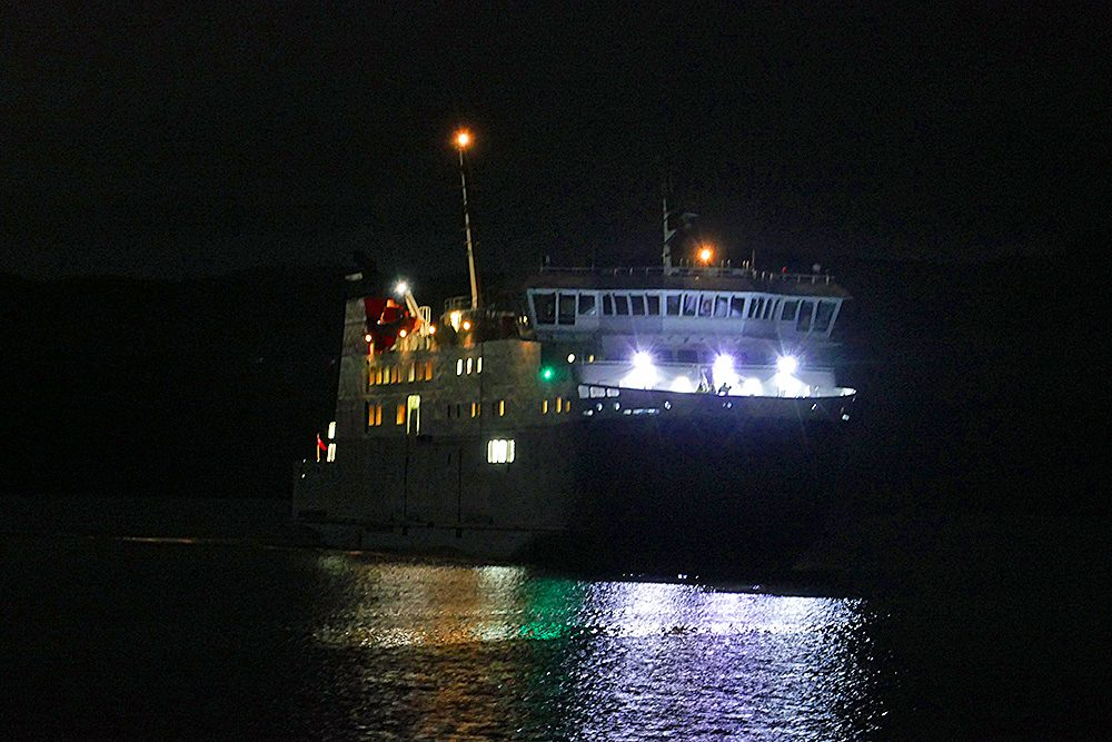 Picture of the ferry MV Finlaggan at night