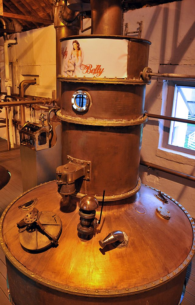 Picture of the Ugly Betty still at Bruichladdich distillery on Islay