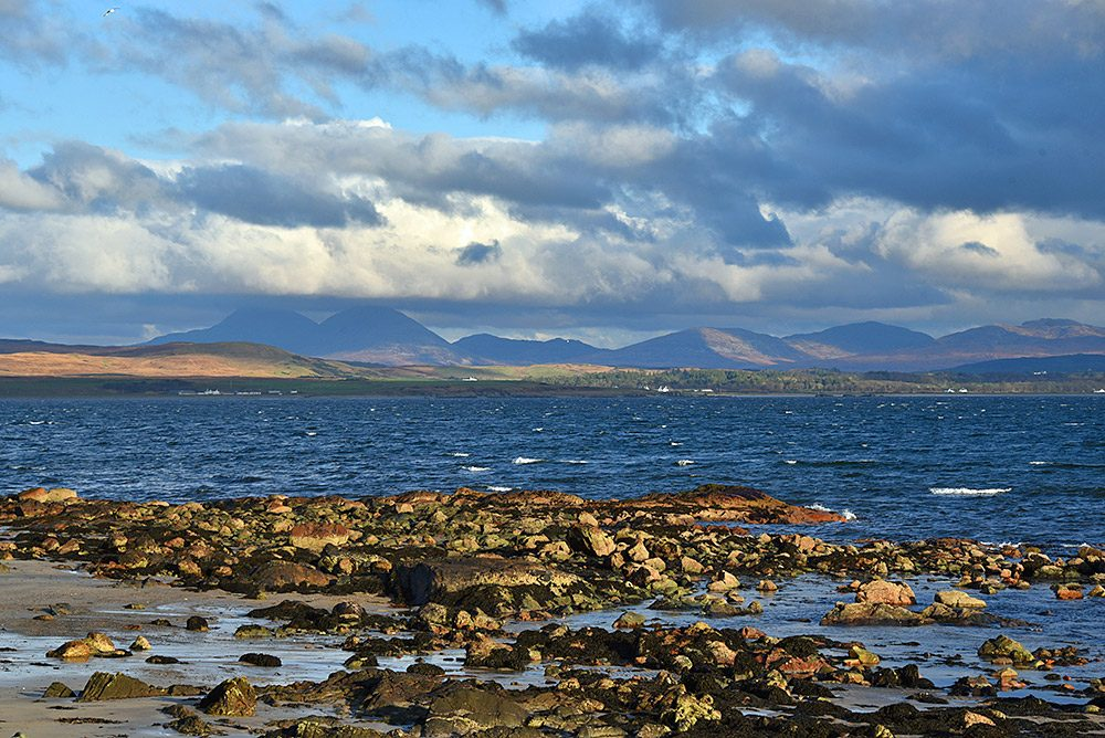 Picture of a view across a sea loch from the shore on a blustery November afternoon