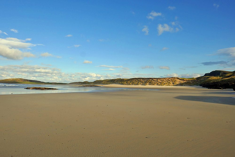 Picture of a wide sandy beach with dunes behind it